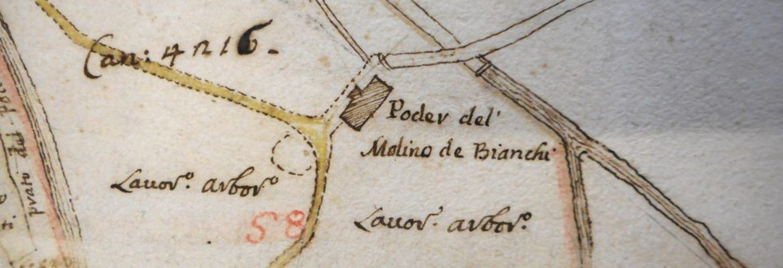 1764, Mulino dei Bianchi Narzalle Ghelli; SASG, F. Catasti, Mappa n. 40 c